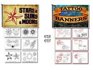 Tattoo Flash Art Books Stars Suns Moons Banners Scrolls