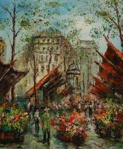 ORIGINAL SIGND FRENCH MARKET IMPRESSIONIST OIL PAINTING