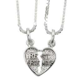 Sterling Silver Best Friend Charms Necklace
