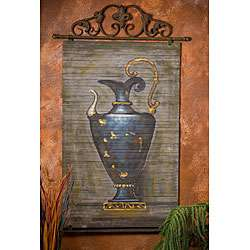 Hand painted Blue Genie Bottle Bamboo Wall Art