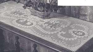 Vintage Crochet Pattern Filet Table Runner Scarf Motif