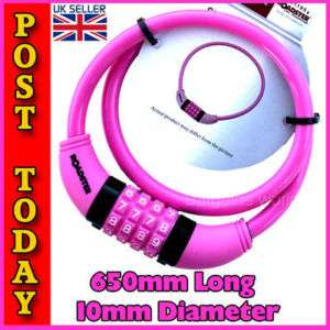 PINK BIKE BICYCLE CABLE COMBINATION CHAIN LOCK PADLOCK