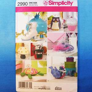 Simplicity 2990 Pin Cushions Owl Bird Hat Shoe Pattern 039363316725