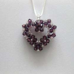 Silver Bead woven Amethyst Purple Crystal Open Heart Necklace (USA