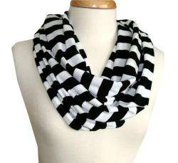 Cuff Luv Black and White Stripe Infinity Scarf