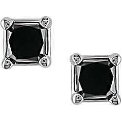 14k Gold 1/4ct TDW Black Diamond Earrings