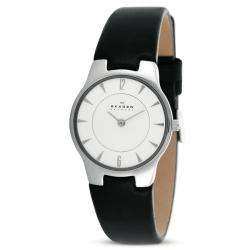 Womens Stainless Steel Black Leather Strap Watch