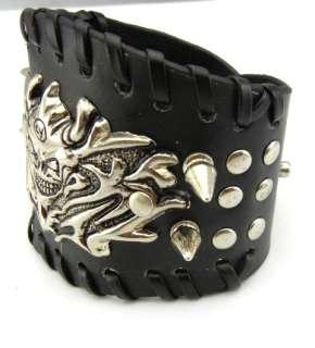 Joker Devil Demon Spike Leather Cuff bangle Bracelet Wristband Punk