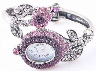 Rhinestones 6P Rhinestone Crystal Cuff Flower Watch Bangle