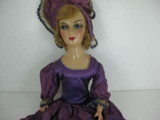 Vintage Boudoir Doll 27 W/ Painted Features Composition & Straw Body