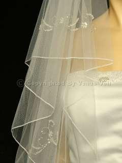 Ivory Waltz Knee Beaded Motifs Pencil Edge Bridal Wedding Veil