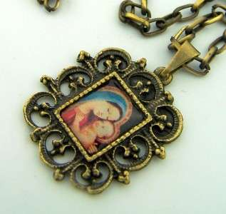 Bronze Madonna And Child Virgin Mary Medal Necklace NR