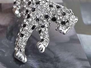 Leaping Leopard Clear Crystal Rhinestone Fashion Jewelry Pin Brooch