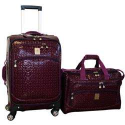 Jenni Chan Bows Purple 2 piece Carry on Spinner Luggage Set
