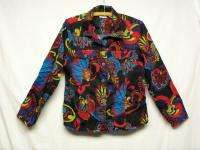 artsy CHICOS black blue red purple yellow STRETCH COTTON shirt