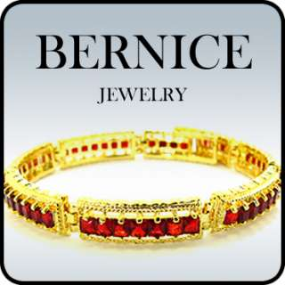 RED RUBY YELLOW GOLD GP TENNIS BRACELET CHAIN JEWELRY