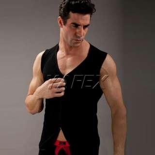 Front open Undershirt Tank Top Vest T shirt 3 Size+Blk/Wht