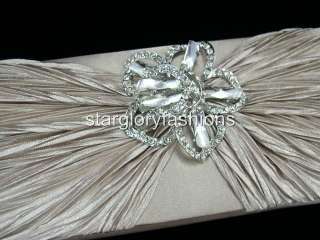 Crinkle Wedding Clutch Bag Sparkle Crystal Pin 4 Colors
