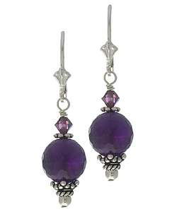 Life Sterling Silver Amethyst and Crystal Earrings