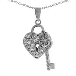 Tressa Sterling Silver CZ Pave Heart Shaped Lock and Key