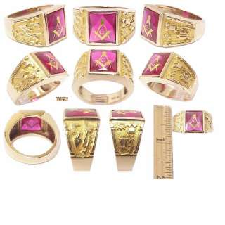 Masonic Square Compass Solid Gold Red Stone Estate Ring