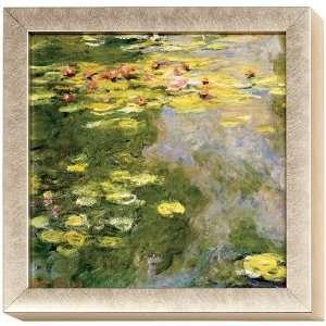 Monet Water Lilies Art Block Framed Print Green