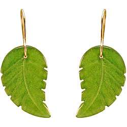 10k Yellow Gold Green Jade Leaf Earrings