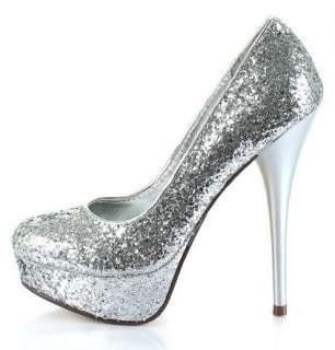 WOMENS SHOES SILVER GLITTER HIGH HEELS EVENING/WEDDING