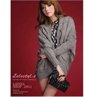 New Korea Women Apricot Wool Blends Bat Sleeve Crochet Cardigan