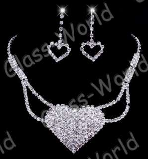 White Heart Austrian Rhinestone Crystal Necklace Earrings Set