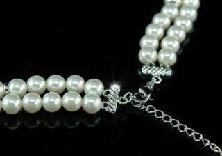 White Shell Pearl w/ Swarovski Crystal Necklace C033