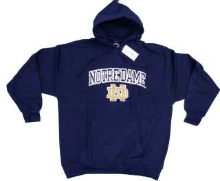 NOTRE DAME FIGHTING IRISH NAVY BLUE EMBROIDERED V NOTCH HOODED