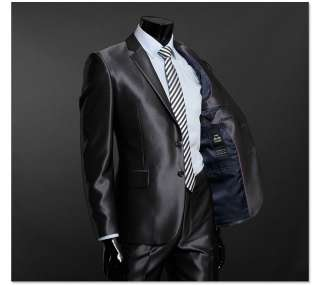Slim Fit Two Button Shiny Dark Gray Mens Suits US 39R