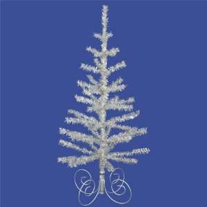 Pack of 2 Silver Tinsel Christmas Trees With Silver Stand
