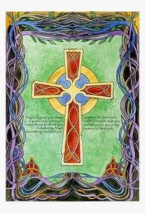 IRISH Celtic ART Painting Giclee MUKERJI Modern CROSS