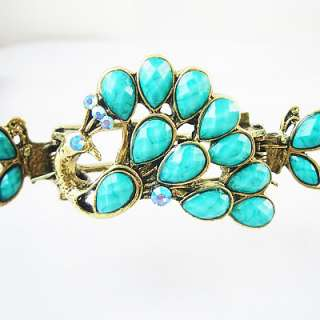 Turquoise peacock Vintage hair clip crab claw HC33A
