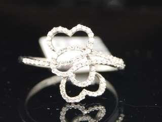 LADIES WHITE GOLD DIAMOND 3 HEART LOVE RIGHT HAND RING