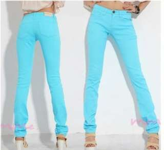 Women Sexy Candy Colors Pencil Pants Slim Fit Skinny Stretch Jeans