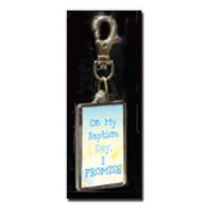 Theme Bag Tag  Baptism  On My Baptism Day I Promise Keychain with New