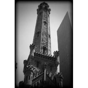 Chicago Water Tower Black and White Print CHBW9202 20x30: