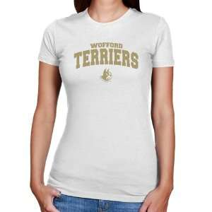 NCAA Wofford Terriers Ladies White Logo Arch Slim Fit T shirt: