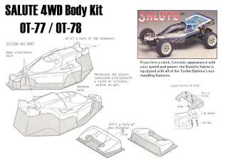 Kyosho Salute Body Wing Driver decal fits all Optima