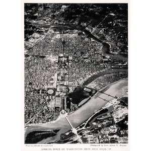 1931 Halftone Print Washington D. C. Aerial Cityscape Historic