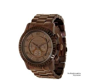 NEW 2012 MICHAEL KORS BROWN STAINLESS STEEL BAGUETTE CHRONO MK5543 MEN