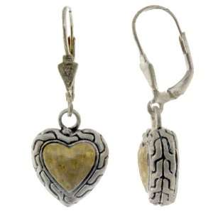Sterling Silver Gold Plated Hammered Heart Leverback Earrings Jewelry
