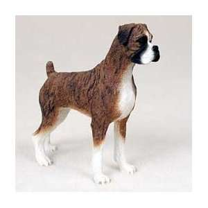 BOXER Dog Figurine BRINDLE Uncropped Ears NEW Stands Resin