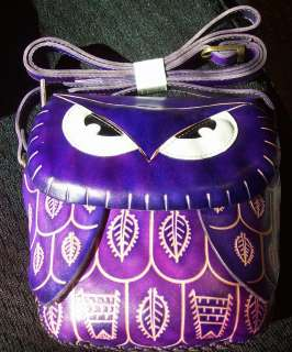 PURPLE OWL 100% LEATHER CROSSBODY BAG NWT