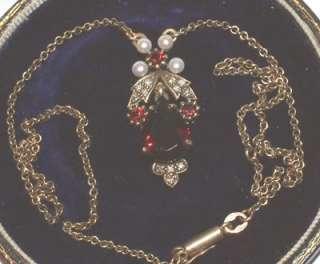 Antique style 9Carat Gold Garnet Diamond Pearl necklace