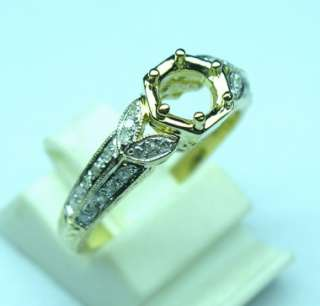 22CT SOLID 14K YELLOW GOLD DIAMOND SETTING SEMI RING MOUNT
