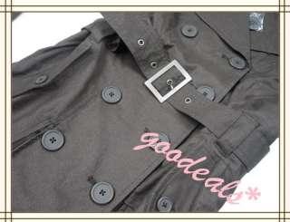 Women Korean Shiny Belt Long Trench Coat Classic Flared Jacket